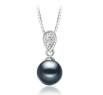 Daria Noir 7-8mm AAAA-qualité perles d'eau douce 925/1000 Argent-pendentif en perles