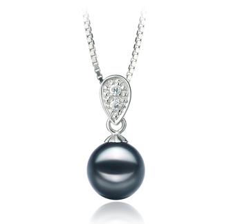 Daria Noir 7-8mm AA-qualité Akoya du Japon 925/1000 Argent-pendentif en perles