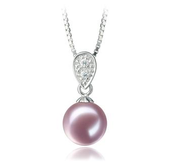 Daria Lavande 7-8mm AAAA-qualité perles d'eau douce 925/1000 Argent-pendentif en perles