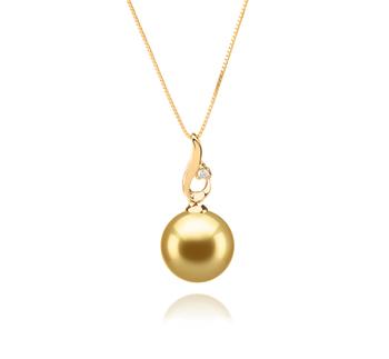 Darlene Or 10-11mm AAA-qualité des Mers du Sud 585/1000 Or Jaune-pendentif en perles