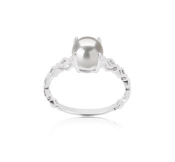 Dawn Blanc 7.5-8mm AAAA-qualité perles d'eau douce 925/1000 Argent-Bague perles
