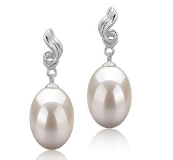 Deborah Blanc 9-10mm AAA-qualité perles d'eau douce 925/1000 Argent-Boucles d'oreilles en perles