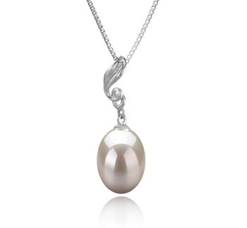 Deborah Blanc 10-11mm AAA-qualité perles d'eau douce 925/1000 Argent-pendentif en perles