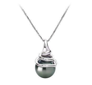 Demeter Noir 8-9mm AAA-qualité de Tahiti 585/1000 Or Blanc-pendentif en perles