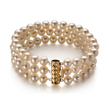 Dianna Blanc 6-7mm AA-qualité perles d'eau douce -Bracelet de perles