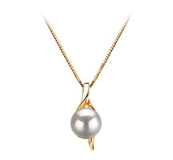 Dinah Blanc 6-7mm AAA-qualité Akoya du Japon 585/1000 Or Jaune-pendentif en perles