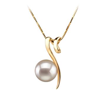 Dionne Blanc 8-9mm AA-qualité Akoya du Japon 585/1000 Or Jaune-pendentif en perles