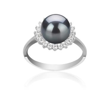 Christelle Noir 8-9mm AAAA-qualité perles d'eau douce 925/1000 Argent-Bague perles