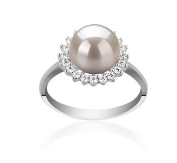 Christelle Blanc 8-9mm AAAA-qualité perles d'eau douce 925/1000 Argent-Bague perles