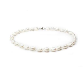 Drop Blanc 10-11mm Baroque-qualité perles d'eau douce 925/1000 Argent-Collier de perles