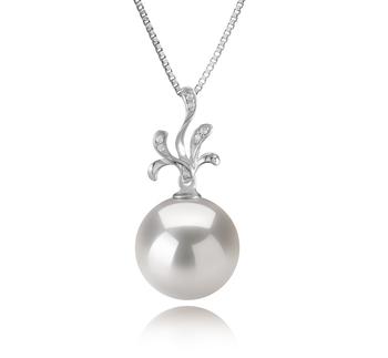 Ebony Blanc 12-13mm AA+-qualité perles d'eau douce - Edison 925/1000 Argent-pendentif en perles