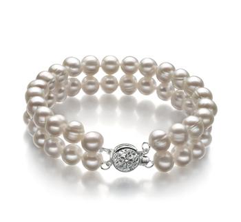 Eda Blanc 6-7mm A-qualité perles d'eau douce -Bracelet de perles