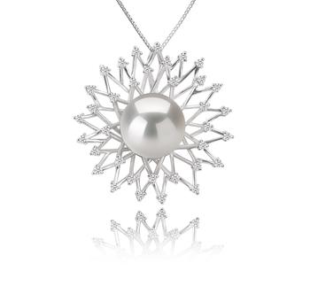 Blanc 13-14mm AA+-qualité perles d'eau douce - Edison 925/1000 Argent-pendentif en perles