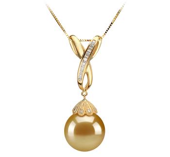 Edwina Or 12-13mm AAA-qualité des Mers du Sud 585/1000 Or Jaune-pendentif en perles