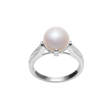 Erica Blanc 8-9mm AAA-qualité perles d'eau douce 925/1000 Argent-Bague perles