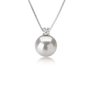 Eternity Blanc 9-10mm AAAA-qualité perles d'eau douce 925/1000 Argent-pendentif en perles