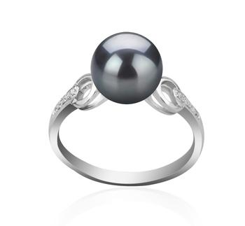 Eunice Noir 8-9mm AAAA-qualité perles d'eau douce 925/1000 Argent-Bague perles