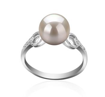 Eunice Blanc 8-9mm AAAA-qualité perles d'eau douce 925/1000 Argent-Bague perles