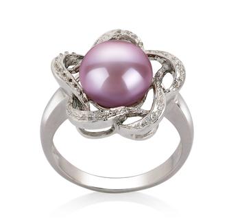 Fiona Lavande 9-10mm AA-qualité perles d'eau douce 925/1000 Argent-Bague perles