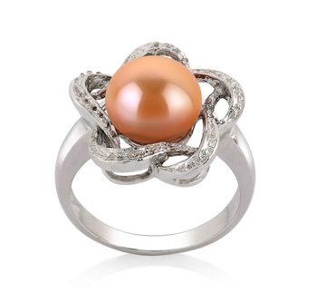 Fiona Rose 9-10mm AA-qualité perles d'eau douce 925/1000 Argent-Bague perles