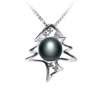 Fishbone Noir 7-8mm AA-qualité perles d'eau douce 925/1000 Argent-pendentif en perles