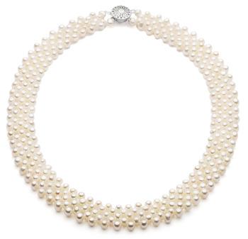 Cinq lignes Blanc 3-4mm AA-qualité perles d'eau douce -Collier de perles