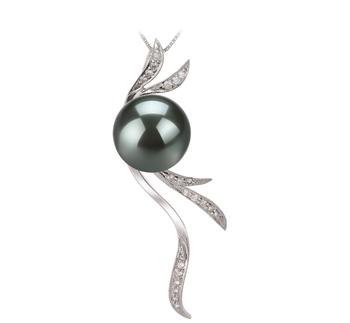 Florence Noir 10-10.5mm AAA-qualité de Tahiti 585/1000 Or Blanc-pendentif en perles