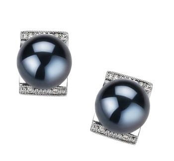 Francine Noir 8-9mm AA-qualité Akoya du Japon 585/1000 Or Blanc-Boucles d'oreilles en perles