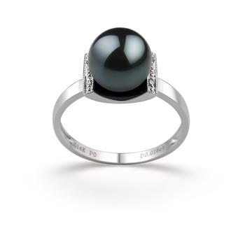 Francine Noir 8-9mm AA-qualité Akoya du Japon 585/1000 Or Blanc-Bague perles