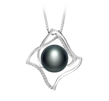 Freda Noir 10-11mm AAA-qualité perles d'eau douce 925/1000 Argent-pendentif en perles