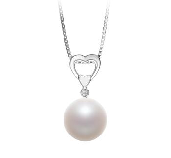 Gabrielle Blanc 10-11mm AAAA-qualité perles d'eau douce 925/1000 Argent-pendentif en perles