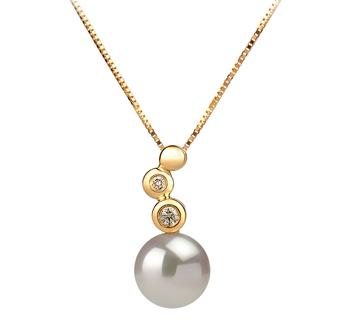 Galina Blanc 7-8mm AAA-qualité Akoya du Japon 585/1000 Or Jaune-pendentif en perles