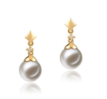 Géorgie Blanc 7-8mm AAAA-qualité perles d'eau douce 585/1000 Or Jaune-Boucles d'oreilles en perles