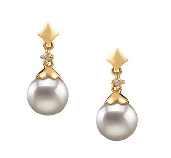 Georgia Blanc 7-8mm AA-qualité Akoya du Japon 585/1000 Or Jaune-Boucles d'oreilles en perles