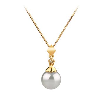 Georgia Blanc 7-8mm AAA-qualité Akoya du Japon 585/1000 Or Jaune-pendentif en perles