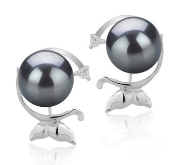 Misha Noir 7-8mm AA-qualité Akoya du Japon 925/1000 Argent-Boucles d'oreilles en perles