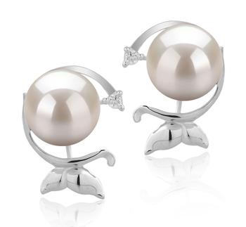 Misha Blanc 7-8mm AA-qualité Akoya du Japon 925/1000 Argent-Boucles d'oreilles en perles
