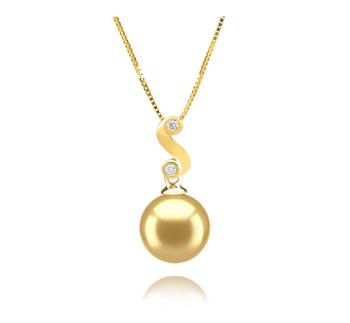 Gisela Or 10-11mm AAA-qualité des Mers du Sud 585/1000 Or Jaune-pendentif en perles