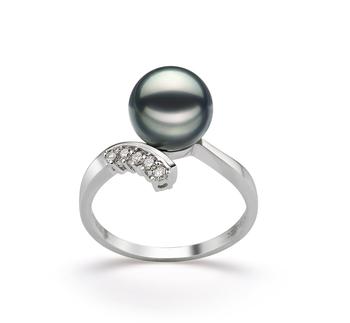 Grace Noir 8-9mm AA-qualité Akoya du Japon 585/1000 Or Blanc-Bague perles
