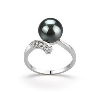 Grace Noir 8-9mm AAA-qualité de Tahiti 585/1000 Or Blanc-Bague perles