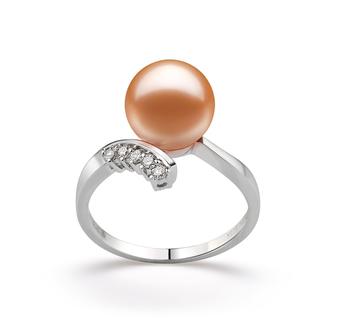 Grace Rose 9-10mm AAAA-qualité perles d'eau douce 585/1000 Or Blanc-Bague perles