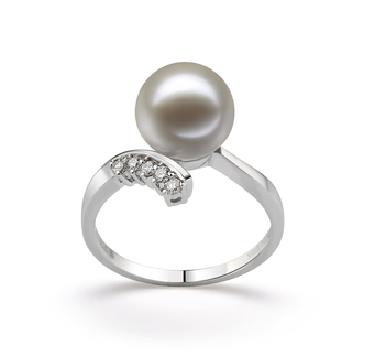 Grace Blanc 9-10mm AAAA-qualité perles d'eau douce 585/1000 Or Blanc-Bague perles