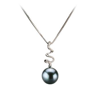 Greta Noir 6-7mm AA-qualité Akoya du Japon 585/1000 Or Blanc-pendentif en perles