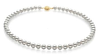 Blanc 6.5-7mm Hanadama - AAAA-qualité Akoya du Japon 585/1000 Or Jaune-Collier de perles