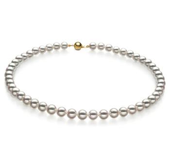 Blanc 7.5-8mm Hanadama - AAAA-qualité Akoya du Japon 585/1000 Or Jaune-Collier de perles