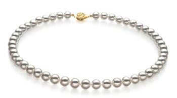 Blanc 8-8.5mm Hanadama - AAAA-qualité Akoya du Japon 585/1000 Or Jaune-Collier de perles
