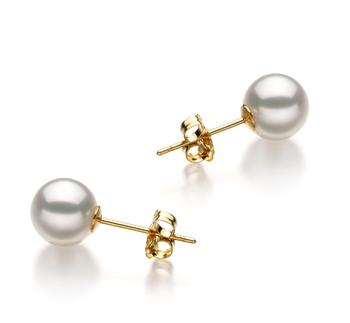 Blanc 6.5-7mm Hanadama - AAAA-qualité Akoya du Japon-Boucles d'oreilles en perles