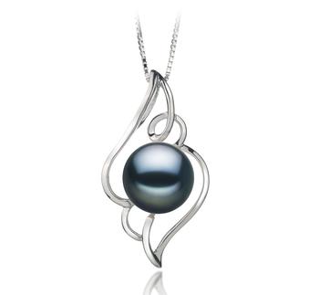 Hannah Noir 12-13mm AA-qualité perles d'eau douce 925/1000 Argent-pendentif en perles