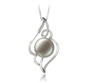 Hannah Blanc 12-13mm AA-qualité perles d'eau douce 925/1000 Argent-pendentif en perles