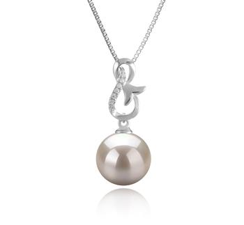 Hazel Blanc 9-10mm AAAA-qualité perles d'eau douce 925/1000 Argent-pendentif en perles